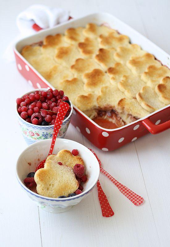 Strawberries bread pudding