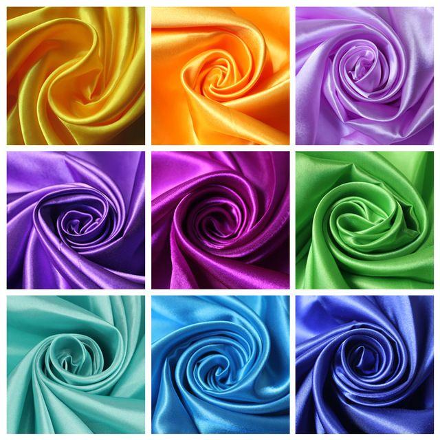 Длина 1 М Ширина 1.45 М Дешевые Китайские Полиэстер Атласной Ткани Для Свадьбы DIY, синий Розовый Красный Золотой Фиолетовый Цвет Tecido