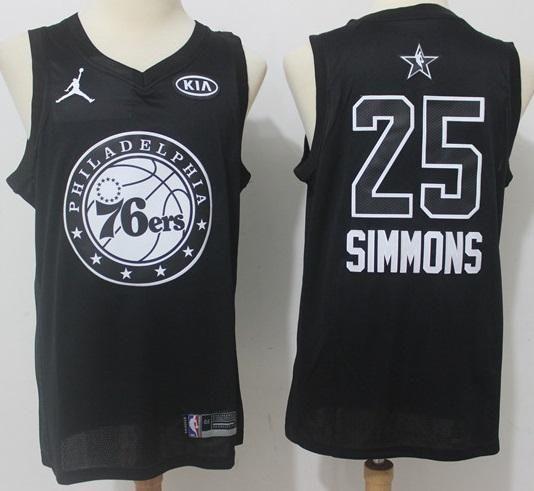 sports shoes b5e96 4a092 Mens 2018 All Star Ben Simmons Jersey Black Philadelphia ...