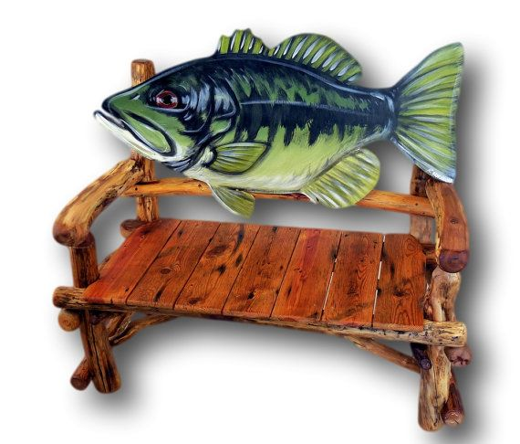 Bass Pro Style Fish Bench Built By The Artist Who Made Them For BassPro.  Etsy