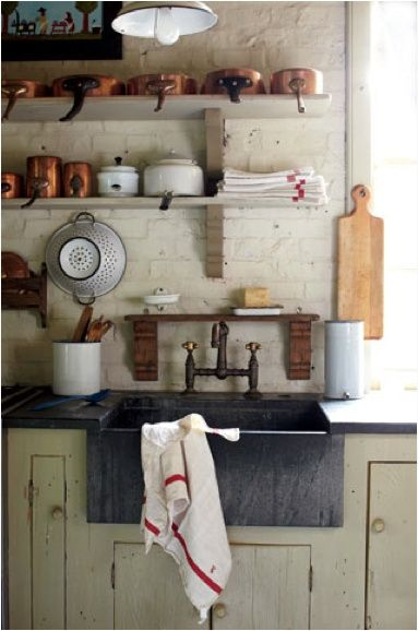 love the faucet from the wall, little shelf over sink, and open shelving xc