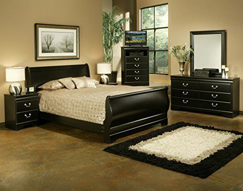 The Regency Collection is a traditional black Louis Philippe style bedroom set. All pieces in the set feature a Mar Resistant Black Laminate Finish. The sleigh bed features a shaped contour footboard that complements the rest of the set. A detailed molding is featured on the dresser and mirror.... more details available at https://furniture.bestselleroutlets.com/bedroom-furniture/bedroom-sets/product-review-for-sandberg-furniture-325y-regency-sleigh-bedroom-set-full/