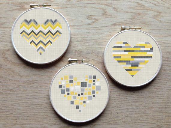 3 geometric modern cross stitch heart patterns, hearts, set of 3, grey and yellow, PDF pattern ** instant download**