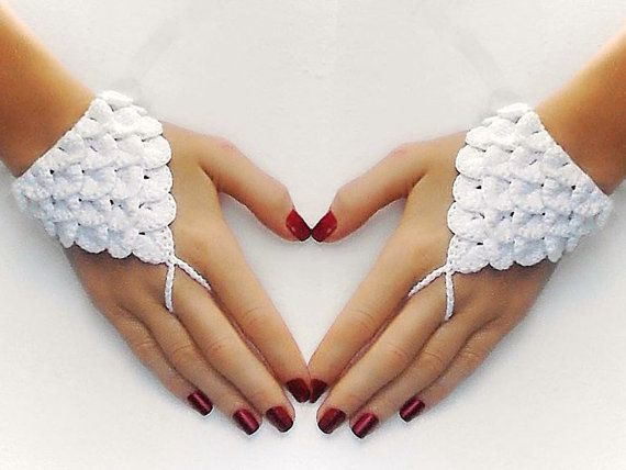 Crocodile Stitch Fingerless Gloves, White Wedding Mittens, Sexy lingerie, arm jewelry, hand accessory,  Beach Party