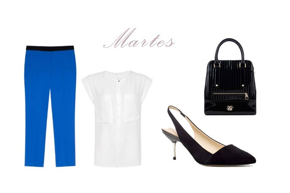 Martes: pantalón capri de pinza azul de Sandro, blusa de Mango, zapato destalonado de Zara, bolso de mano de Ted Baker.