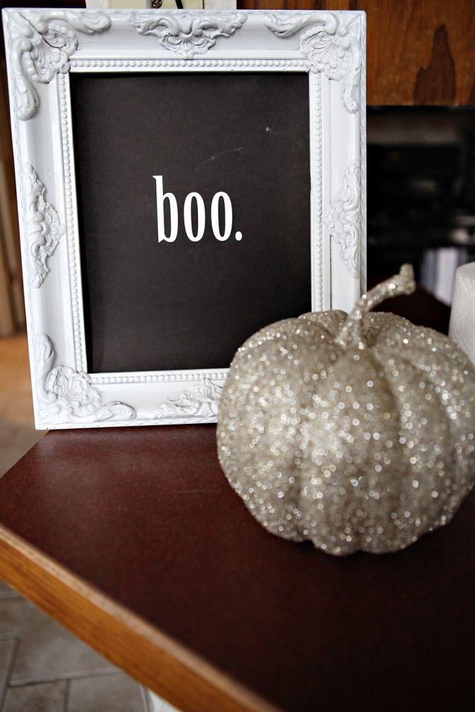 boo sign and glitter pumpkin