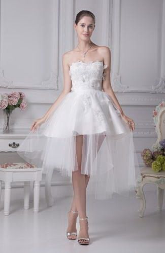 Elegant Princess Wedding Gown - Order Link: http://www.thebridalgowns.com/elegant-princess-wedding-gown-tbg1991 - SILHOUETTE: Princess; SLEEVE: Sleeveless; LENGTH: Short; FABRIC: Tulle; EMBELLISHMENTS: Beaded , Appliques - Price: 119.99USD