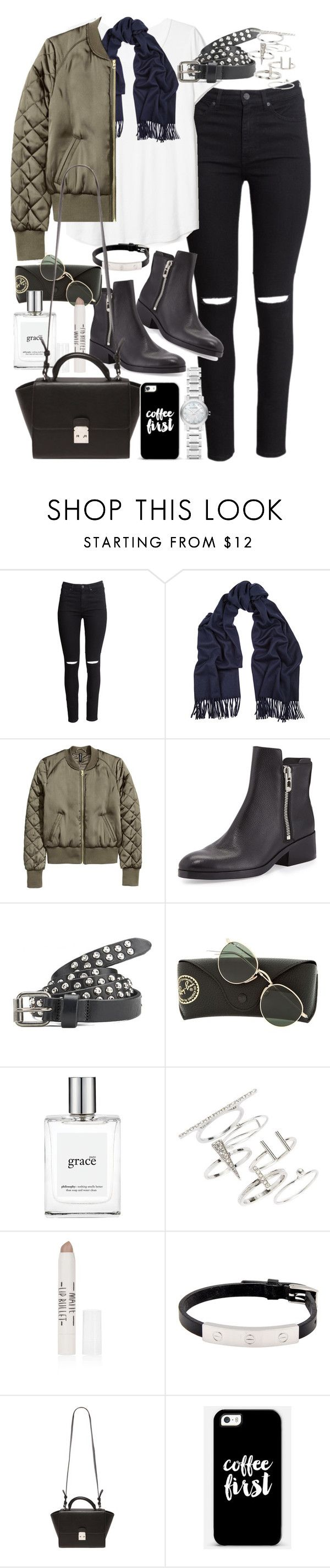 """Outfit with black ripped jeans and khaki bomber jacket"" by ferned ❤ liked on Polyvore featuring H&M, Acne Studios, 3.1 Phillip Lim, Maison Scotch, Ray-Ban, philosophy, Topshop, Cartier, Forever 21 and Casetify"