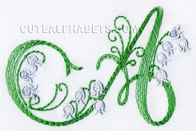 Lily of the valley font. Exclusive - Cute Alphabets - Embroidery Fonts