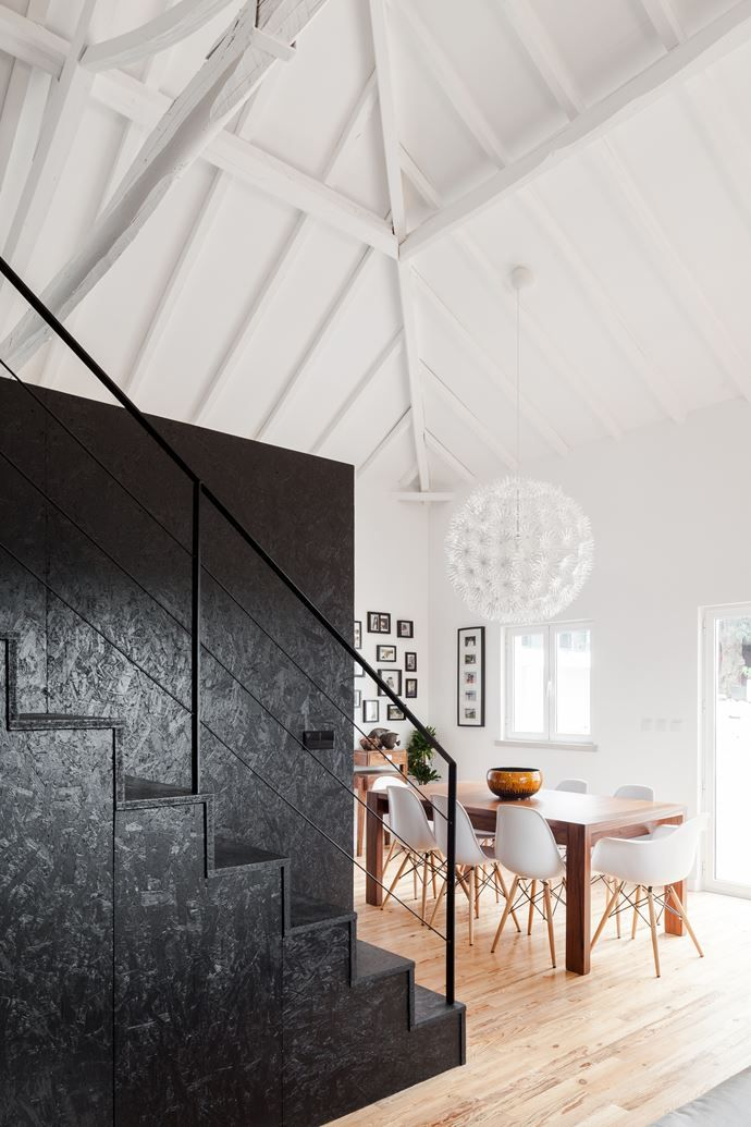 Love the look of particle board painted black barn