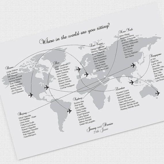 plan de table carte du monde