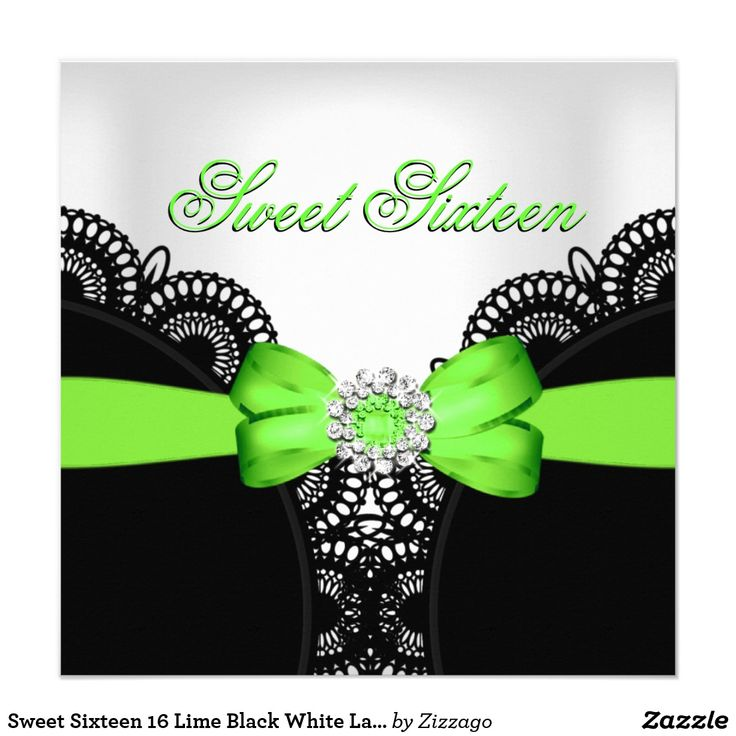 Sweet Sixteen 16 Lime Black White Lace Card Sweet Sixteen Sweet 16 Birthday Party Lime Green Bow Black White Lace Diamond Birthday Party Invitation Birthday Party. All Occasions Fabulous Elegant Events for Women, Girls, Party Invites for all ages, just customize to the age you want! 21st Birthday Party Invitations, 20th Birthday Party Invitations, 30th Birthday Party Invitations, 40th Birthday Party Invitations, 50th Birthday Party Invitations, 60th Birthday Party Invitations, 70th Birthday…