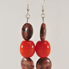 Boucles d'oreilles perles jaspe et orange