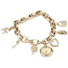 discount 29 % on Anne Klein Women's 10-7604CHRM Swarovski Crystal Gold-Tone Charm Bracelet Watch