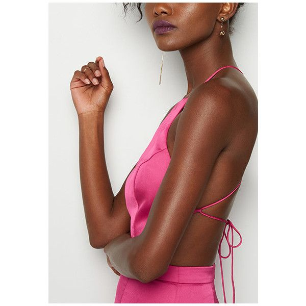Hot Pink Ada Dress (7,495 THB) ❤ liked on Polyvore featuring dresses, hot pink, satin formal dresses, satin prom dresses, hot pink bridesmaid dresses, satin bridesmaid dresses and brown prom dresses