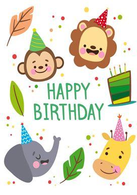 귀여운 동물 친구들 생일카드를 준비해보았어요~ 초록사자 하늘원숭이 노랑코끼리 표지에 이름을 적어주시...