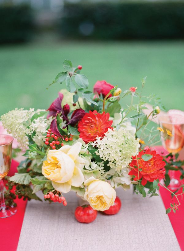 Beautiful flowers by the amazingly talented Mary Stevens for Southern Weddings Mag v5.. amazing fruit + flower centerpiece by Fearrington Village | Eric Kelley #wedding