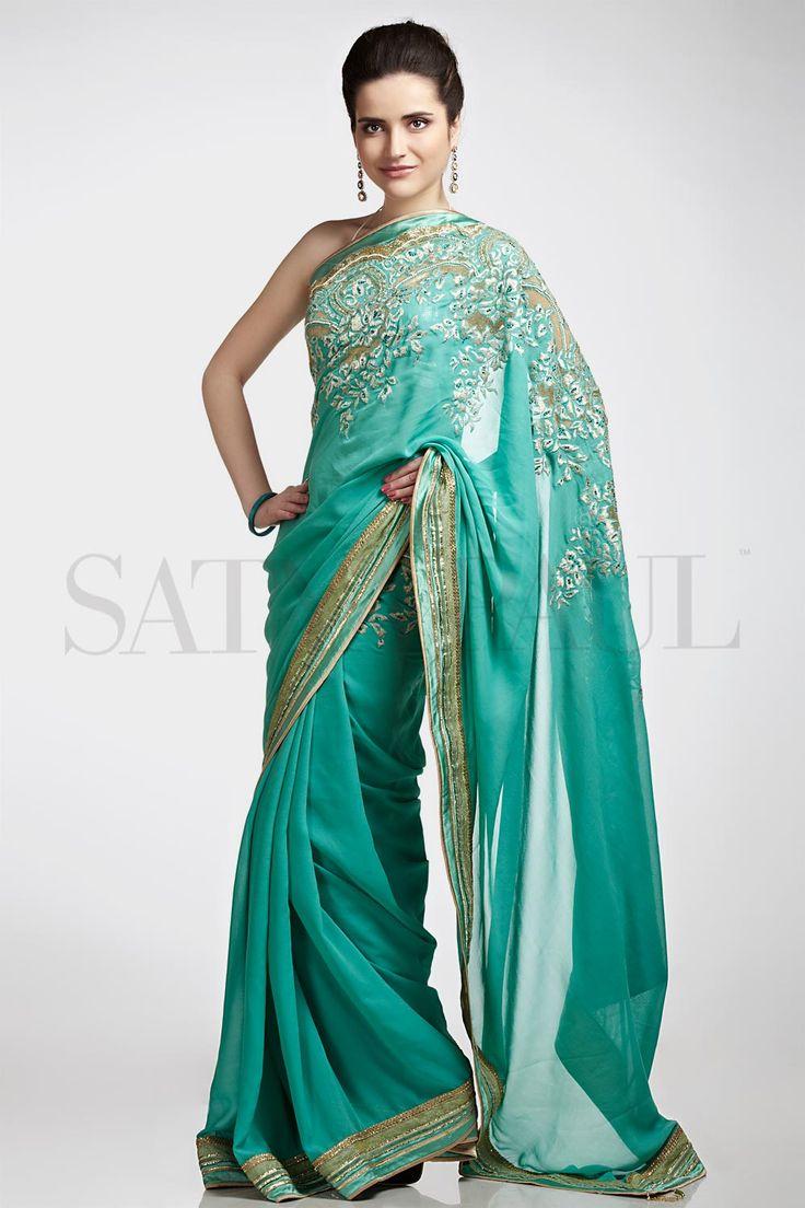 Satya Paul 2013 #Saree with peek-a-boo cut #embroidery ~