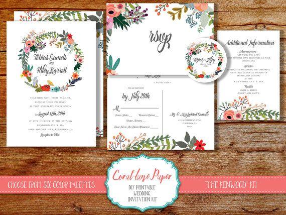 Printable Wedding Invitation DIY Wedding by CoralLanePaper on Etsy