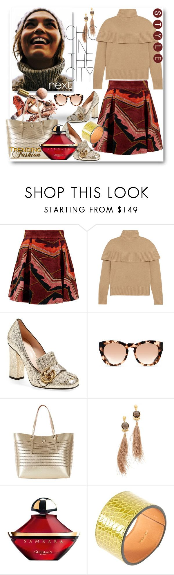 """""""Chic in the City"""" by sunflower-707 ❤ liked on Polyvore featuring Just Cavalli, Chloé, Gucci, Michael Kors, Karen Millen, Gas Bijoux, Guerlain and Hermès"""