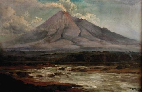 Basoeki Abdullah - Mount Merapi and Opak River