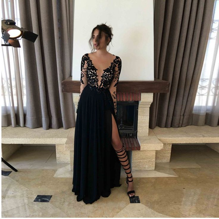 >> Click to Buy << Sexy Black Evening Dresses Lace Formal Party Dress With Long Sleeves Deep V-neck Split Evening Gowns 2016 Chiffon Prom Dress #Affiliate