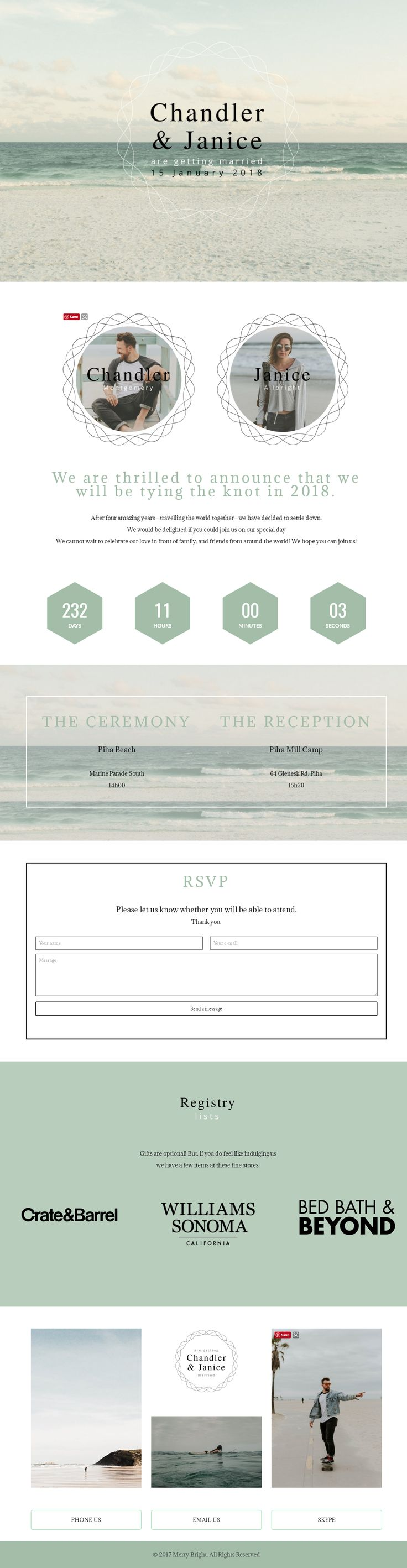 Wedding websites ideas. The Beach Wedding website. We do it all for you. No more crappy templates! Wedding website examples.