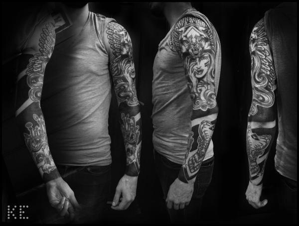 Черный рукавец. - татуировка фото и эскиз от тату-мастера Карина Тюлеубекова в стиле , ,