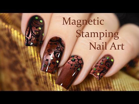 Magnetic Stamping Nail Art / Стемпинг на магнитном лаке - YouTube