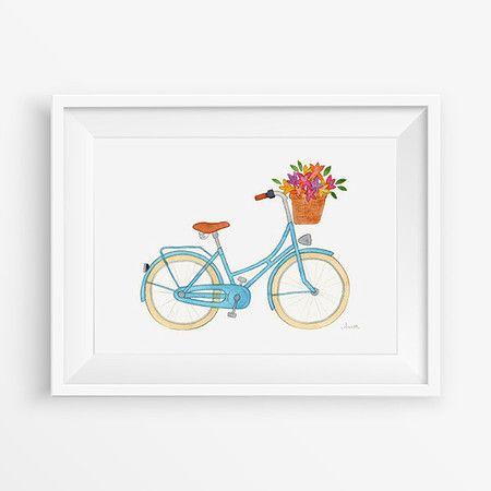 """Print """"Bicicleta Turquesa"""". Impressão digital criada a partir de uma das minhas ilustrações originais em aquarela e lápis. Compre online: ilustrações em aquarela, retratos ilustrados, papelaria personalizada, prints, cartões e outros."""
