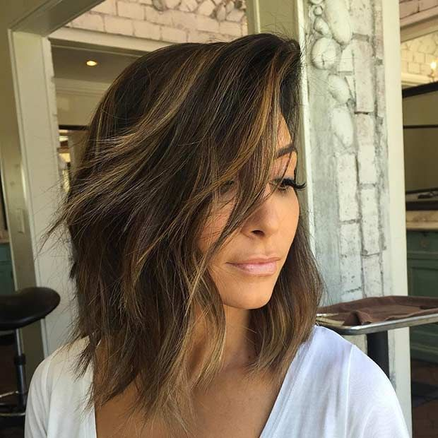 Choppy, Layered Lob + Caramel Balayage Highlights