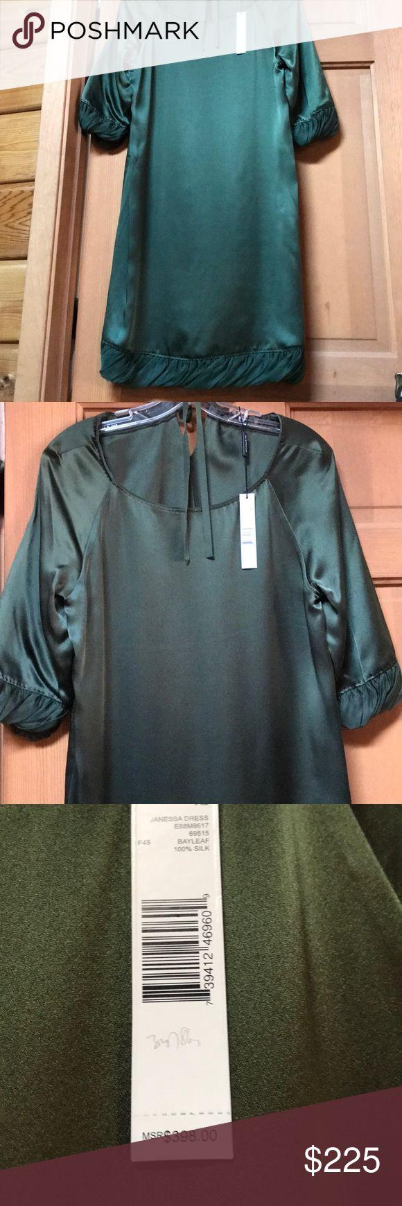 Elite Tahari green dress 100% silk. Size 12. Brand new avocado silk dress by Elie Tahari. Runs a bit small -scoop neck w/loose belt if desired. Elie Tahari Dresses Long Sleeve