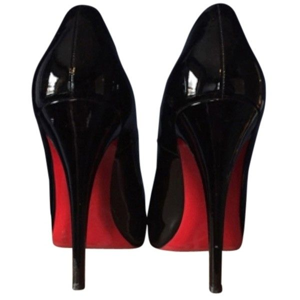 Pre-owned Christian Louboutin Rolando 120 Patent Calf Black Pumps ($430) ❤ liked on Polyvore featuring shoes, pumps, heels, sapatos, shoes -- heels, black, patent shoes, patent pumps, red soled black pumps and kohl shoes