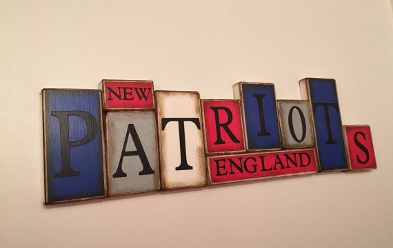 Patriots Sign Word Blocks New England Wooden by GuidingPrintables