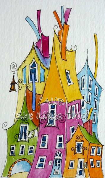 Colourful Houses  An original watercolour painting by shelikesthis, £20.00