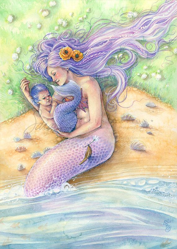 Mermaid Art Print Purple Mermaid with Baby on by sarambutcher, $12.00
