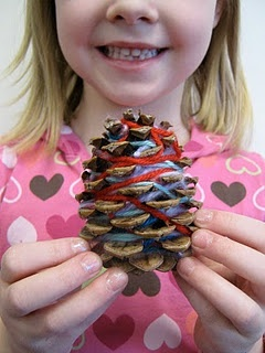 pinecone weavings, I'd use short strings for birds to gather when making nests