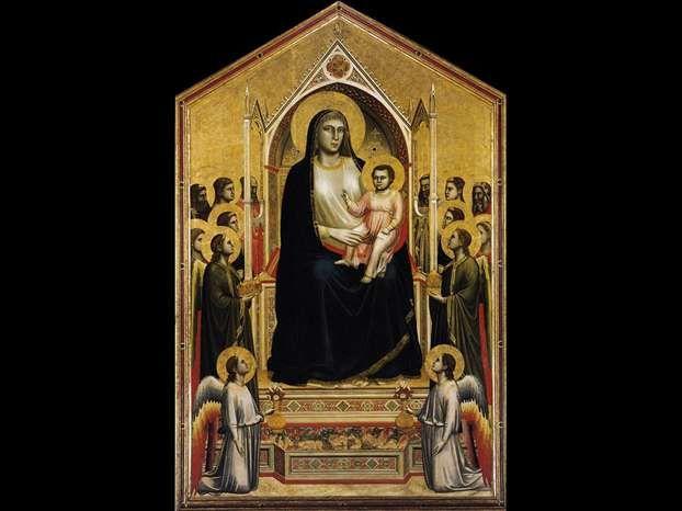 GIOTTO,  Maestà di Ognissanti, 1310, Firenze Uffizi, utilizza la prospettiva intuitiva