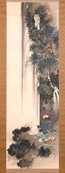 Li Bai Gazing at a Waterfall. Shibata Zeshin (Japanese, 1807-1891)