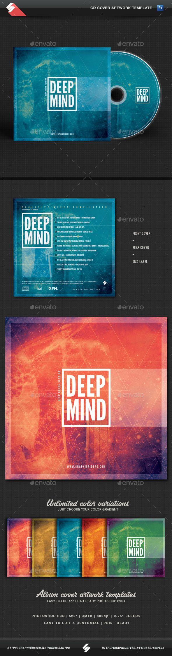 Deep Mind  CD Cover Artwork Template — Photoshop PSD #dj #multicolor • Available here → https://graphicriver.net/item/deep-mind-cd-cover-artwork-template/14466413?ref=pxcr