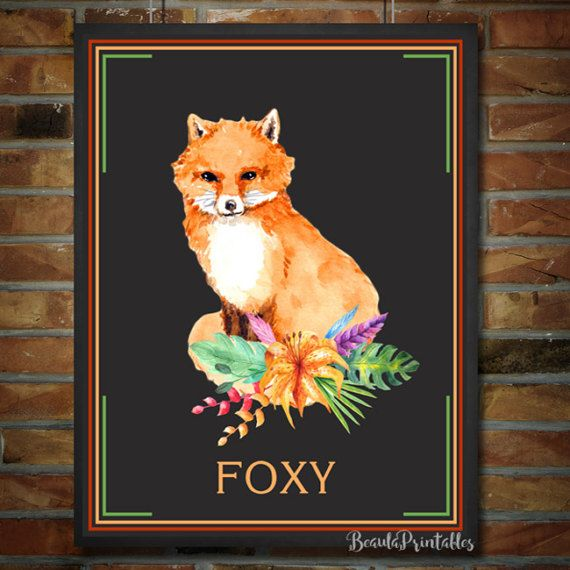 Fox Print  Black board Print  Forest Woodland by BeaulaPrintables