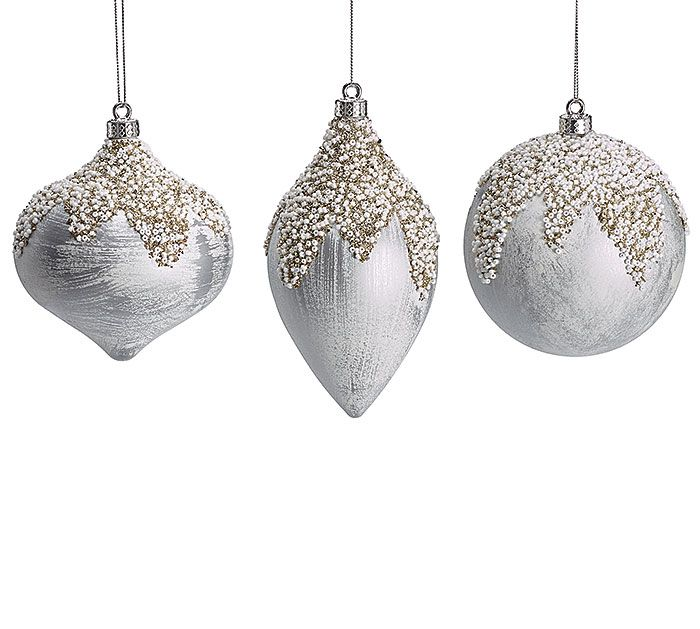 Christmas Ornament Shapes Part - 42: #burtonandburton Plastic Silver With White Wash Ornaments In Assorted Shapes:  Onion, Olive,