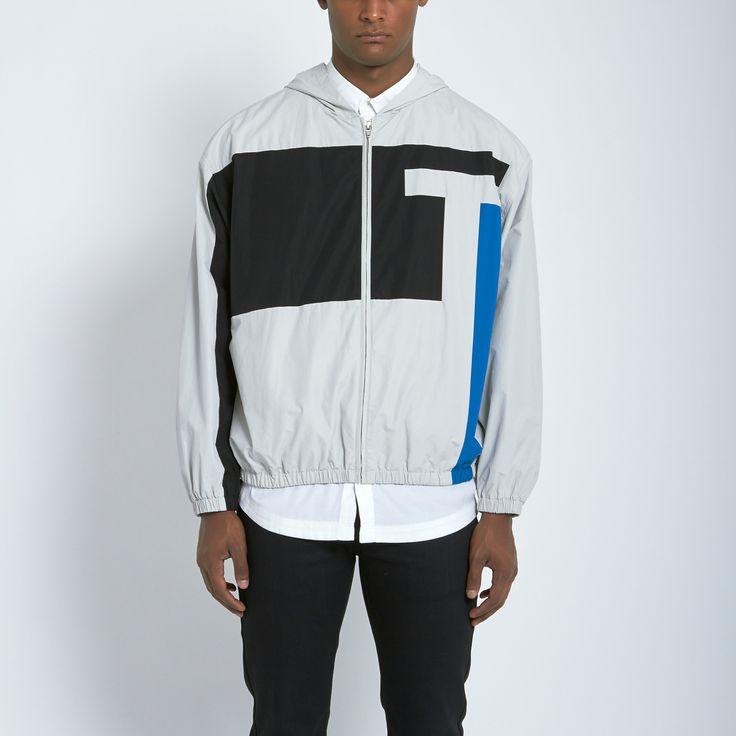 T by Alexander Wang Logo Hooded Anorak Jacket in Fog | Atrium