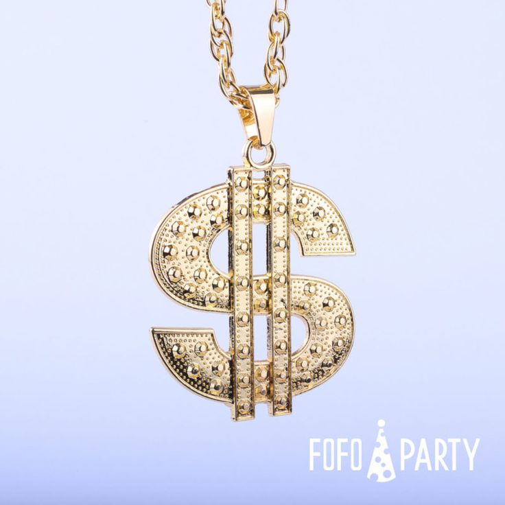 Fashionable and cool plastic dollar sign necklace, perfect for Fancy Dress Costume Party.