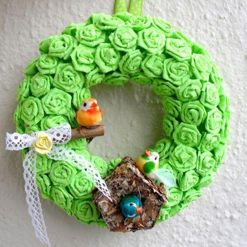 Meskabala - Zöld virágos ajtódísz meska madárkákkal, Dekoráció, Otthon, lakberendezés, Dísz, #meska #wreath