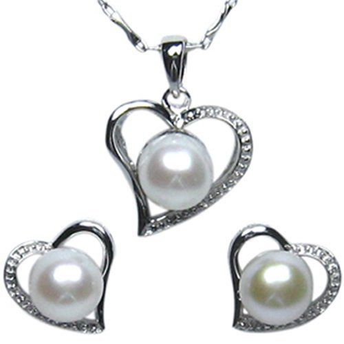 """Cursive Heart Shaped Cultured Pearl Platinum Overlay Sterling Silver Pendant Necklace and Stud Earrings (18"""") Dahlia. $71.95. Save 52% Off!"""