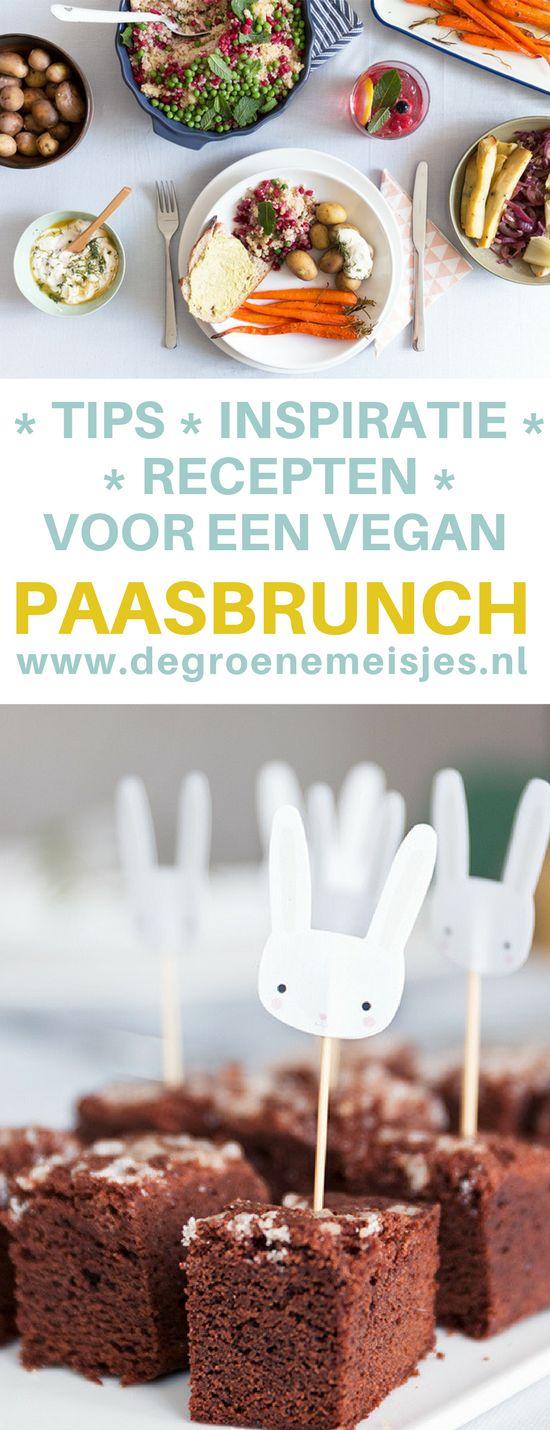 Recepten voor een makkelijke vegan paas brunch. Tips en inspiratie voor een zoete, hartige, gezonde, feestelijke paastafel van de Groene Meisjes.