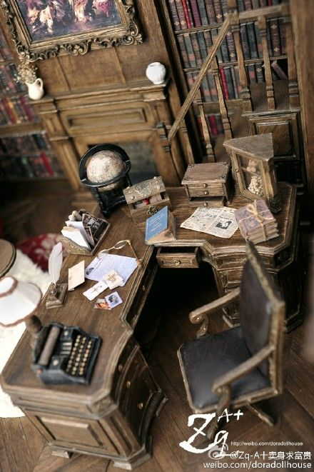 May never have this kind of office...but maybe IN miniature...one OF my characters would...I wonder who...