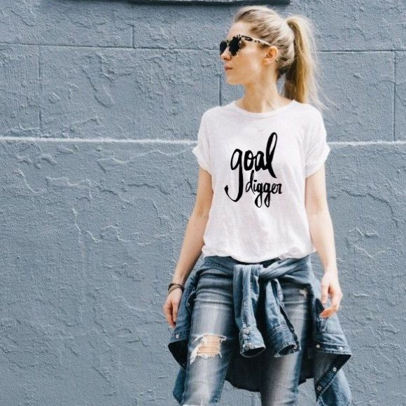 Goal digger graphic tee shirt white black basic Get it girl! Graphic tee made to order on basic white jersey tee shirt. available in all sizes xs s m l xl Tops Tees - Short Sleeve