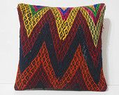 18x18 zig zag patterned cushions chevron wool pillows craft scatter cushions anatolian chair pillow aztec sofa seat cushion red kilim pillow